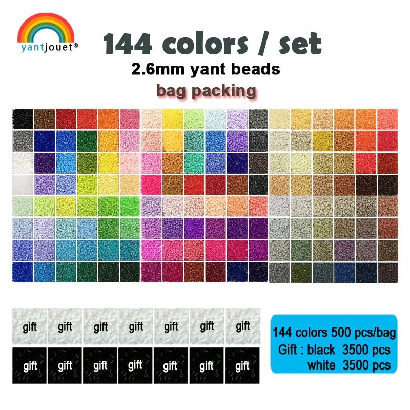 144colors/set Yantjouet 2.6mm EVA Mini Beads kit Gift Black/White 3500pcs Hama Beads Perler Beads Diy Puzzles Iron Beads(China)