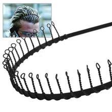 New Men's Metal Wire Teeth Hair Band Fashion Black Soccer Football Sports Headband