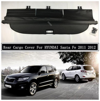 Rear Cargo Cover For HYUNDAI Santa Fe 2011 2012 Partition Curtain Screen Shade Trunk Security Shield Auto Accessories Black