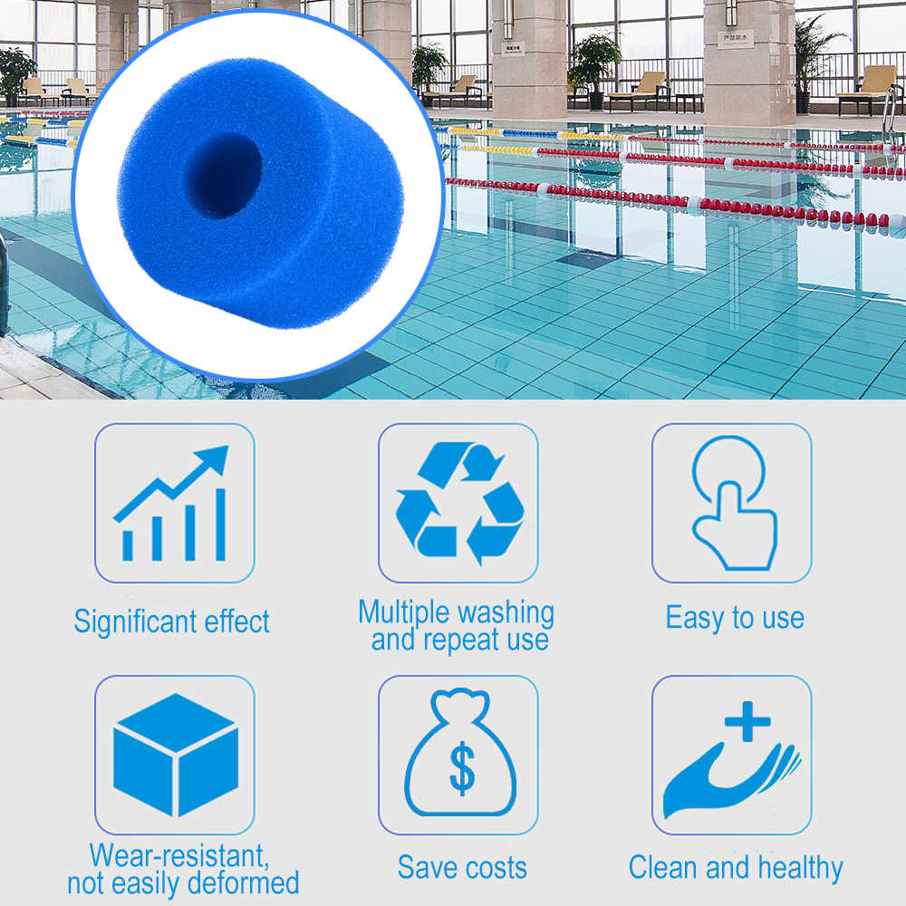 Swimming Pool Filter Foam Sponge Reusable Washable Cartridge Foam Suitable Intex Bubble Jetted Pure SPA for S1 Type(China)