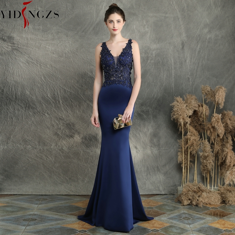 YIDINGZS Navy Blue V-neck Appliques Beaded Long Evening Dress See Through Elegant Evening Party Dress YD16158