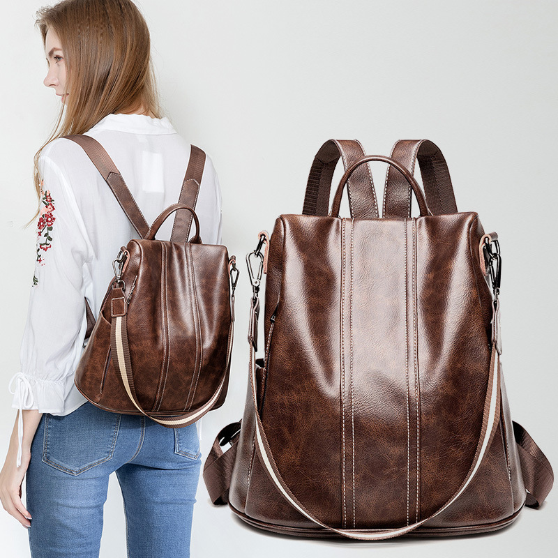 Soft Leather Backpack Female 2019 New Style All-match Large-Capacity Fashion Trend Multi-Function Anti-Theft Backpack Travel Bag