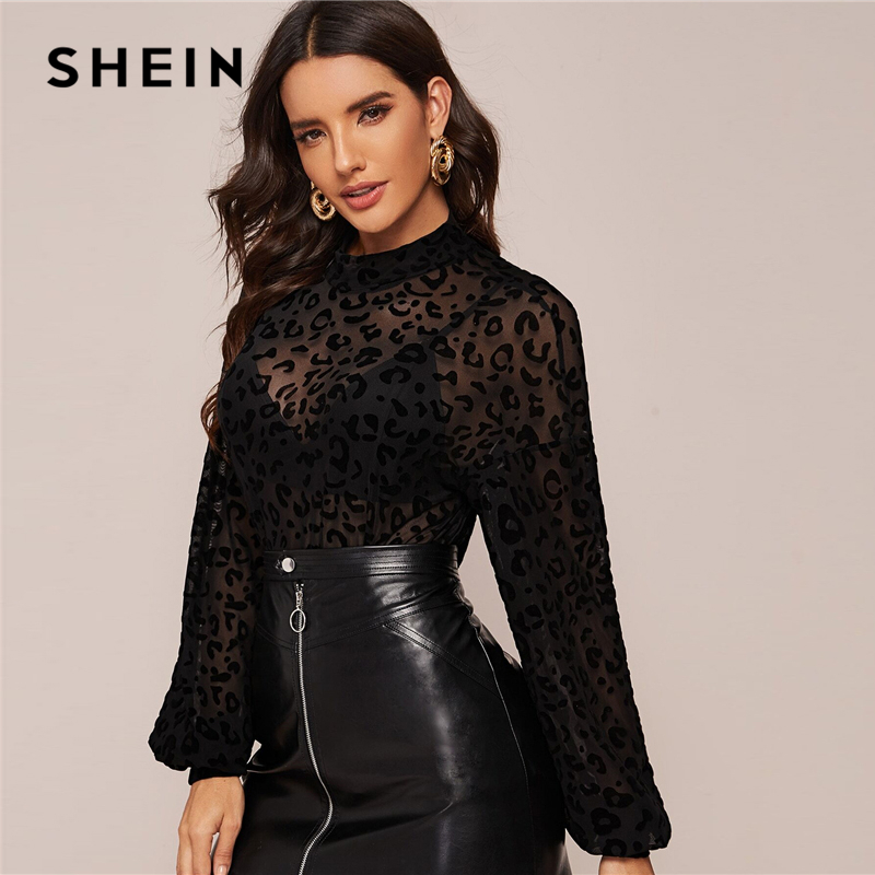 SHEIN Black Mock-neck Lantern Sleeve Sheer Leopard Mesh Top Womens Tops and Blouses Stand Collar Spring Summer Sexy Blouse 2