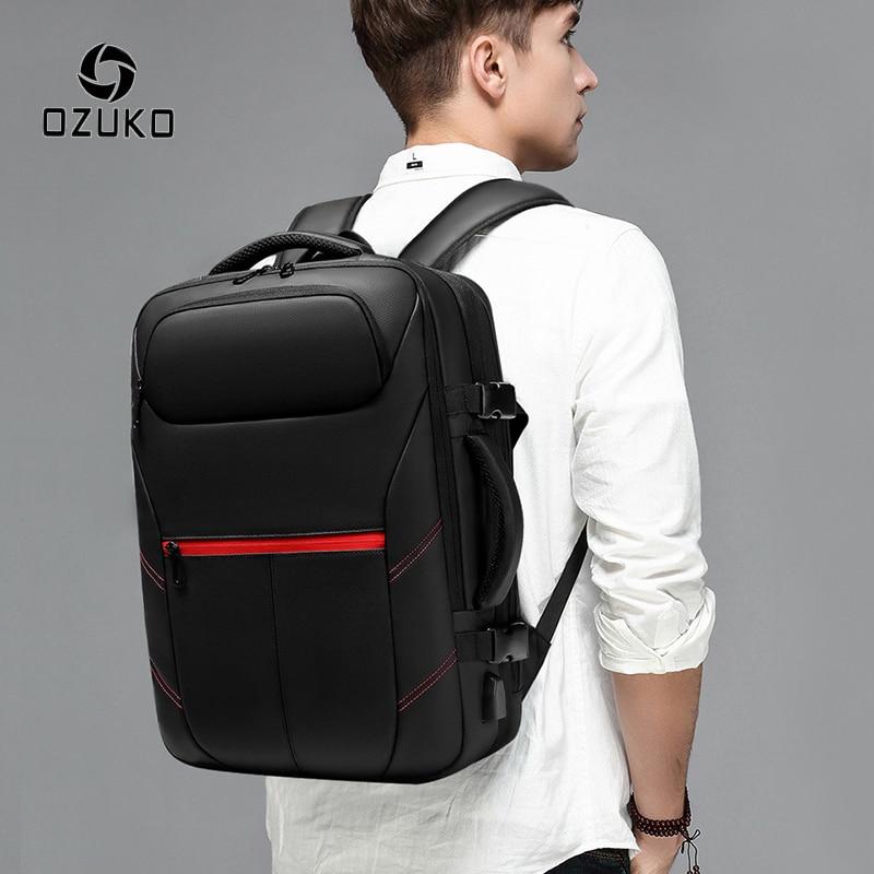 OZUKO Expandable Men's Backpack PVC Waterproof USB Charging Male Backpack 15.6 Inch Laptop Backpacks Casual Travel Bag Mochila