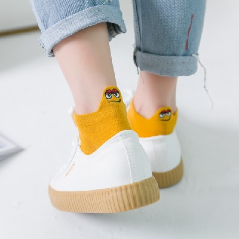 1 Pair Women Candy Color Socks Kawaii Embroidered Expression Women Socks Happy Fashion Ankle Funny Socks Women Cotton Summer