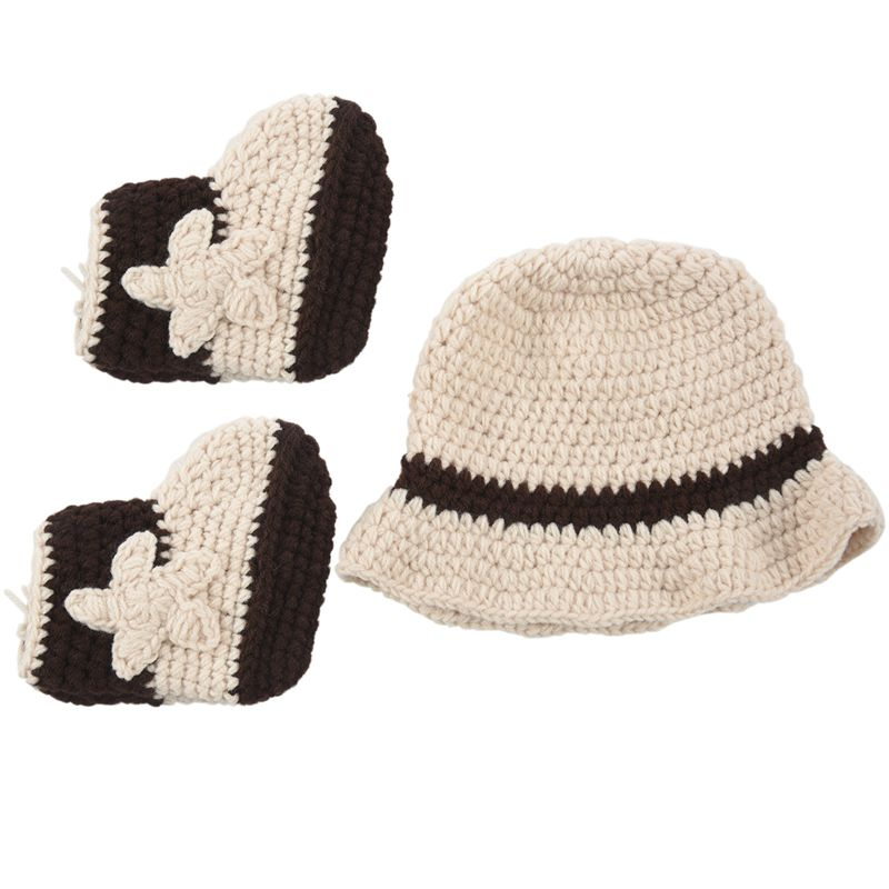Cute Crochet Newborn Photography Props Handmade Western Cowboy Baby Hat And Shoes Set Baby Costume 1set