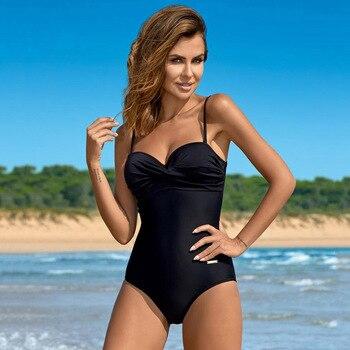 ESSV Women Swimwear 2021 Sexy Solid Swimming Wear One Piece Swimsuit Bathing Suit Blue Beachwear Bodysuit Push Up Monokini 3