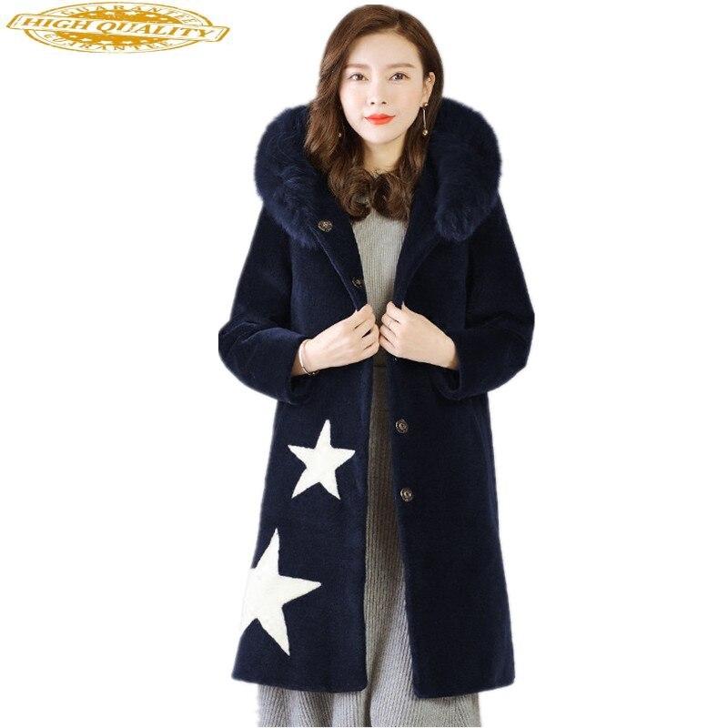 Women Winter Real Wool Fur Coat Long Sheep Shearing Jacket Natural Fox Fur Collar Hooded Chaquetas Invierno Mujer YQ1571