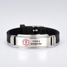TYPE 1 DIABETES Silicone Medical Alert ID Bracelet for Man Woman Child Kids ICE SOS Emergency Bangles Adjustable Link