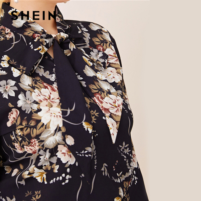 SHEIN Plus Size Navy Tie Neck Botanical Print Top Women Autumn Solid Elegant Office Lady Womens Plus Tops and Blouses 3