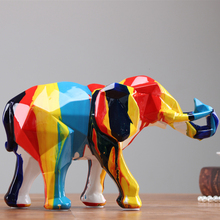 Natural Resin Elephant Mascot Colorful Colors Geometric Figures Home Decor Christmas Gifts Office Decoration