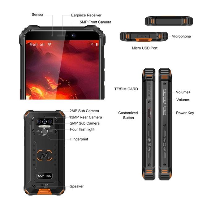 OUKITEL WP5 Pro 5.5 inches 4GB 64GB IP68 Waterproof Smartphone 8000mAh Android 10 Triple Camera Face/Fingerprint ID Mobile Phone