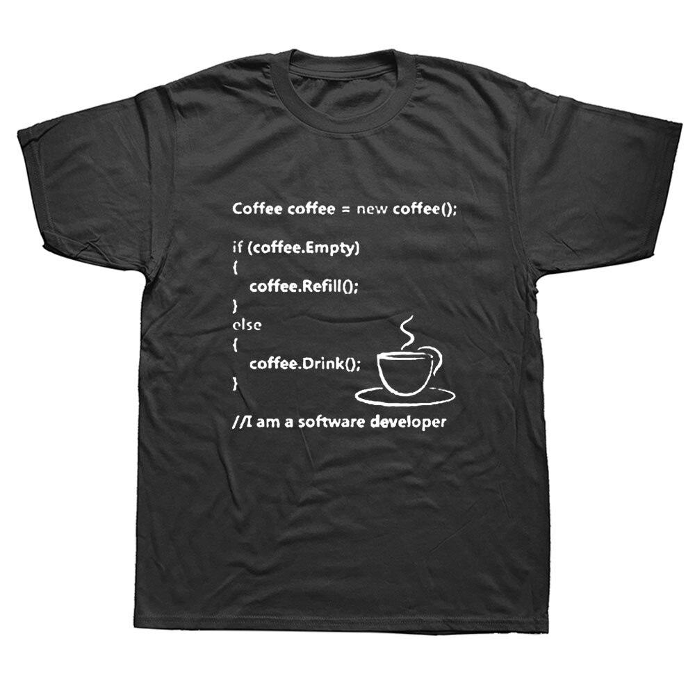 Программист кодирования футболка Geek Стиль Повседневная Подходит для мужчин футболка размера плюс с героями из мультфильмов с коротким рук...