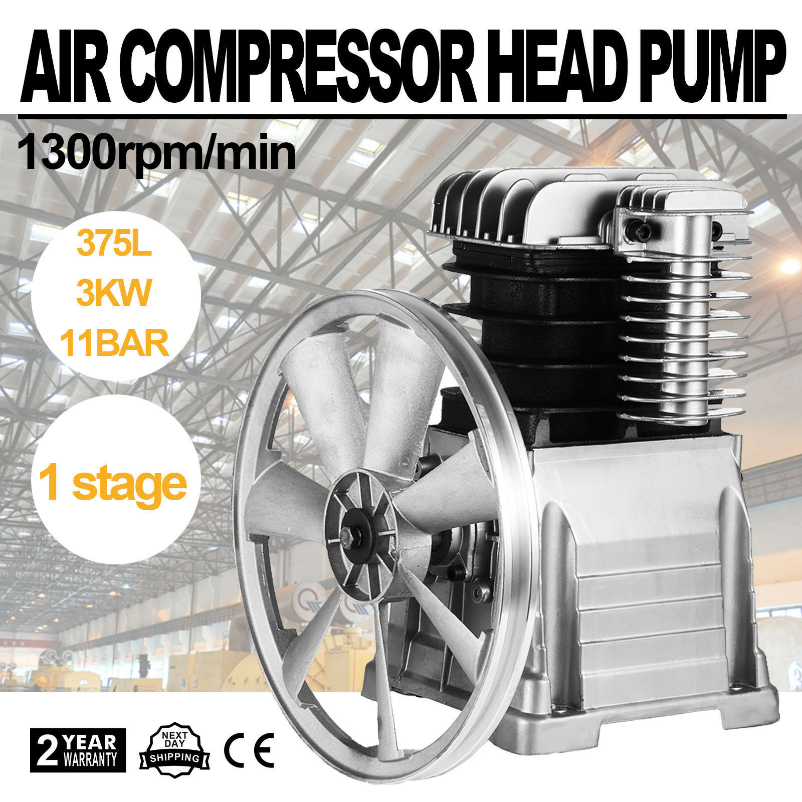Air Compressor Pump 3HP 11.8CFM Air Compressor Head Pump 115PSI Single Stage Twin Cylinder Aluminum Air Compressor Head Piston