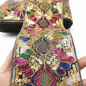 1 Yards Sequin Lace Trim Lace Fabric DIY Embroidery Ribbons for Garments Headdress Wedding Decor Sewing Handmade Supplies