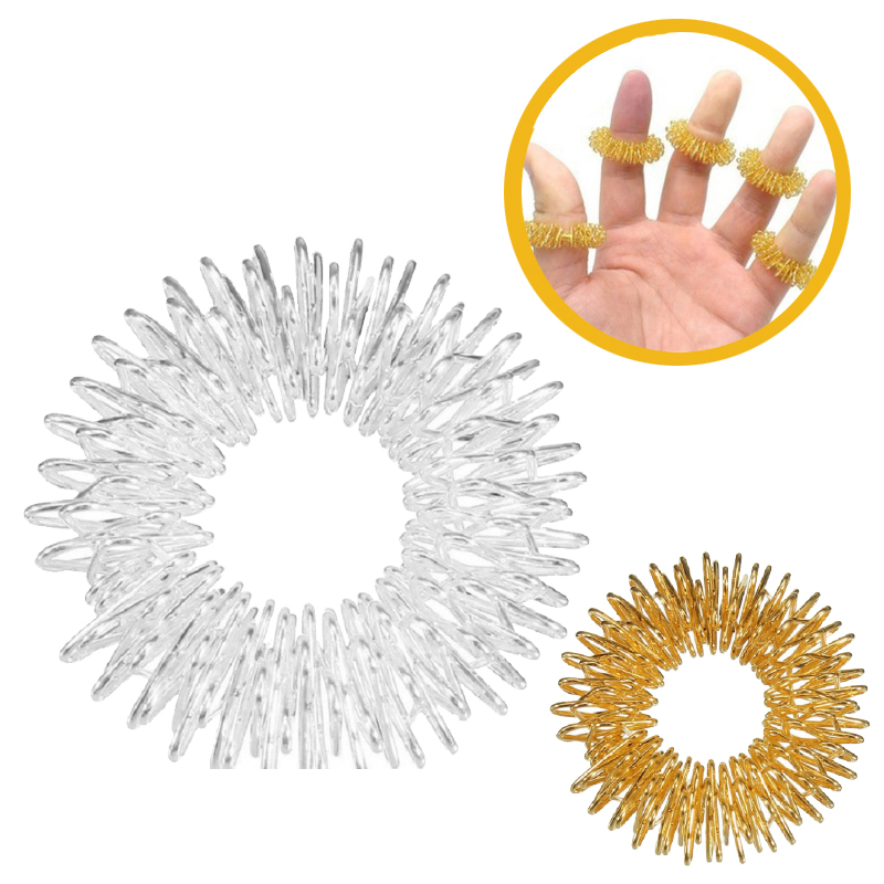 Hot Sale Finger Massage Sujok Ring Acupuncture Ring Health Care Pain Stress Relief Body Massager Chinese Medicine Gold Sliver