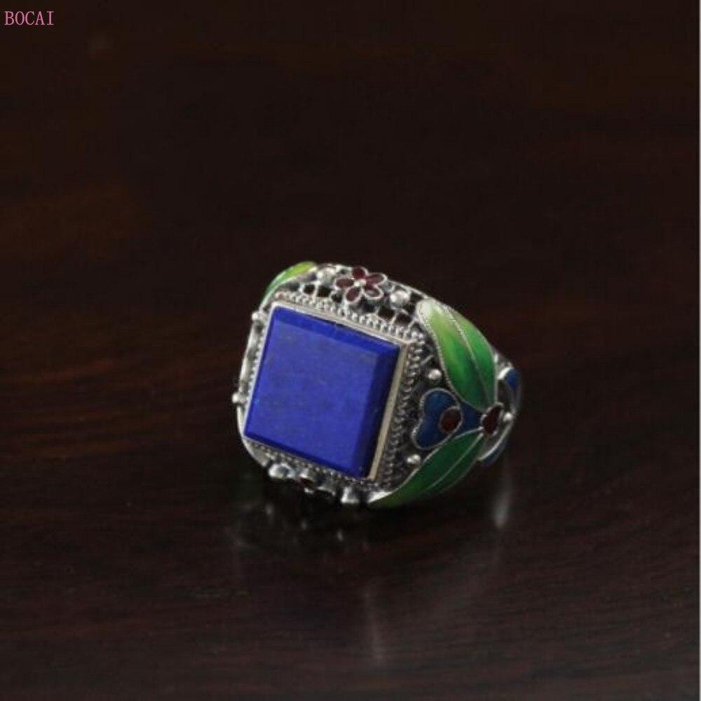2019 nouvelle mode S925 bague en argent Sterling goutte d'huile carré naturel Lapis pierre anneau Thai argent bague pour hommes
