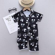 Summer Girls Baby Ice Silk Short Sleeve Pajamas Cartoon Disney Mickey Children Clothing Set Kids Casual Baby Boys Sleepwear Suit