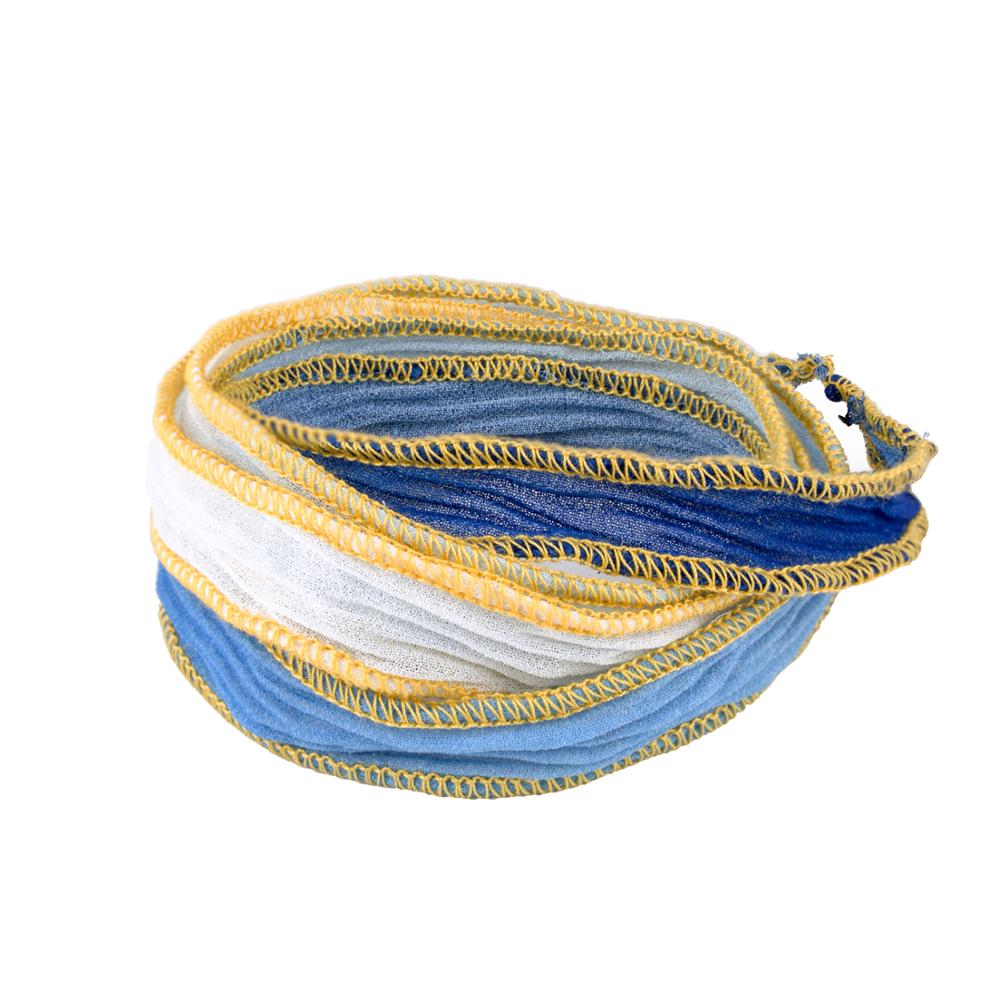 KELITCH Silk Ribbon Wrap Wrist Band Friendship Rope Bracelet Stripe Boho Style for Sister