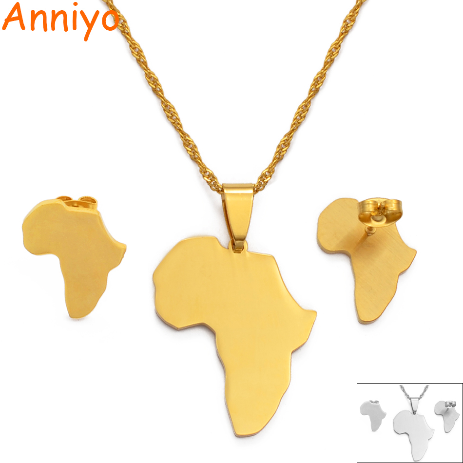 Anniyo Africa Map Sets Pendant Necklace and Earrings Gold Color/Silver Color African Maps Jewelry Set for Women Gitls #133621