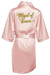 Image 4 - ほこりピンク花嫁ローブサテンローブ女性ブライダルパジャマ結婚式のウエディングギフトの母の姉妹の花嫁新郎ローブ