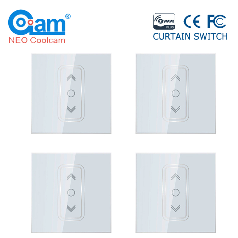 NEO Coolcam 4 unids/lote, Smart Home Z Wave Plus, interruptor de cortina inteligente para persiana enrollable eléctrica motorizada con 868,4 Mhz KERUI WIFI GSM sistema de alarma de seguridad para el hogar con 2,4 pulgadas TFT Panel táctil inalámbrico de Control inteligente de alarma de ladrón para hogar cámara IP