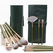 Набор косметических кистей для макияжа с 14 зелеными облаками