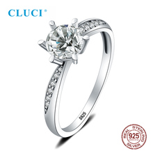 CLUCI Real Silver 925 Classic Twisted Ring Six Claw Prong Setting Zircon Women Wedding Gift Jewelry