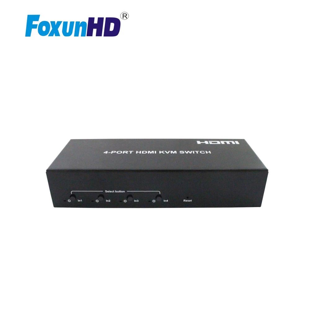 Foxun 4X1 HDMI2.0 USB Switch With KVM Support Hot Plug 4-PORT HDMI Switcher 4k