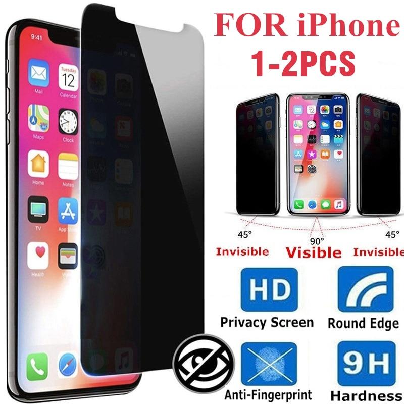 1-2 шт. защитная пленка на половину экрана, закаленное стекло, антишпионское стекло для IPhone 12 XS XR 6 7 8 11pro MAX X PLUS, Защитная пленка для экрана