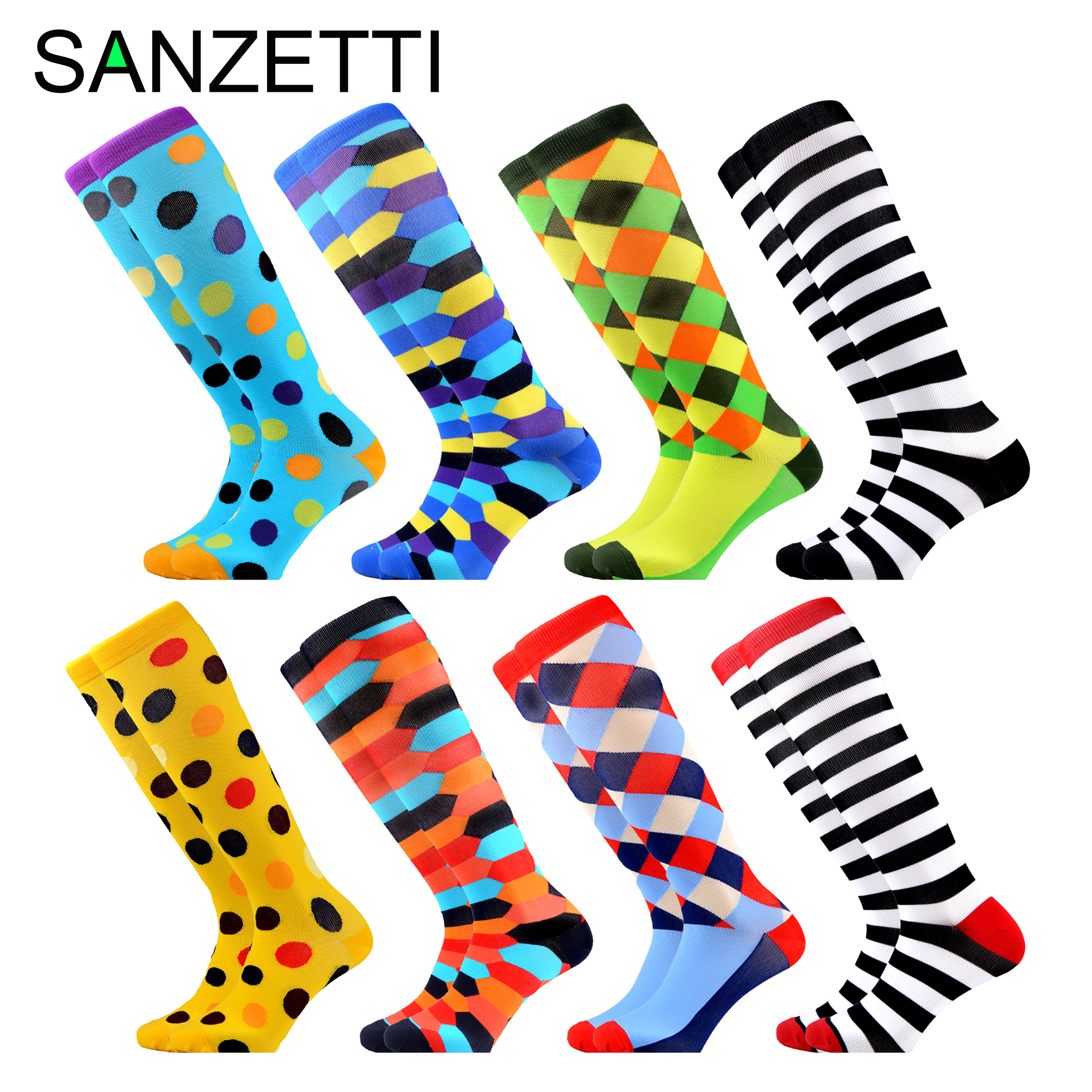SANZETTI 8 Pairs/Lot Women's Colorful Design Leg Support Stretch Cotton Compression Socks Below Knee Anti-Fatigue Happy Socks