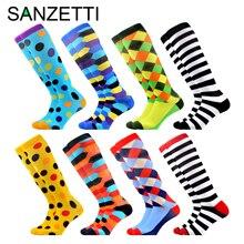 SANZETTI 8 Pairs/Lot Womens Colorful Design Leg Support Stretch Cotton Compression Socks Below Knee Anti-Fatigue Happy