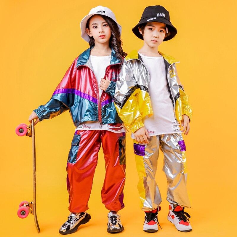 Children Sequined Hip Hop Dancing Clothing  Jacket Top Crop Coat Running Casual Pants For Girl Jazz Dance Costume Clothes Wear