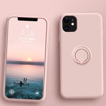 Miękki płynny silikonowy pokrowiec na iPhone 12 11 Pro Max Mini XS X XR 7 8 6 6S Plus SE 2020 stojak pierścień uchwyt obejmuje iPhone11 iPhone12 tanie i dobre opinie CN (pochodzenie) With Metal Ring Holder Stand Back Case Cover Apple iphone ów Iphone 6 Iphone 6 plus IPHONE 6S Iphone 6 s plus
