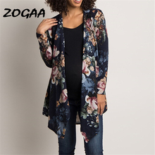 Cardigan Women 2019 Autumn Long Sleeve Floral Printed Cardigan Sweater Vintage Casual Irregular Cardigan Coat Plus Size Tops XXL