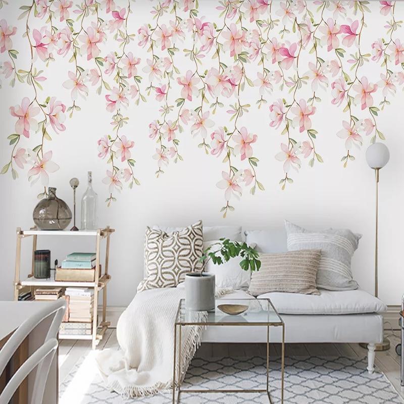 Custom 3D Mural Wallpaper Modern Hand Painted Floral Flowers Bedroom Living Room Decoration Wall Painting Waterproof Wallpaper
