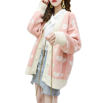Pink Sweater Women 2020 Spring Knitted Cardigans Loose Jackets White Print Coats Autumn Sweet Cute Sweaters Feminina LR830 1