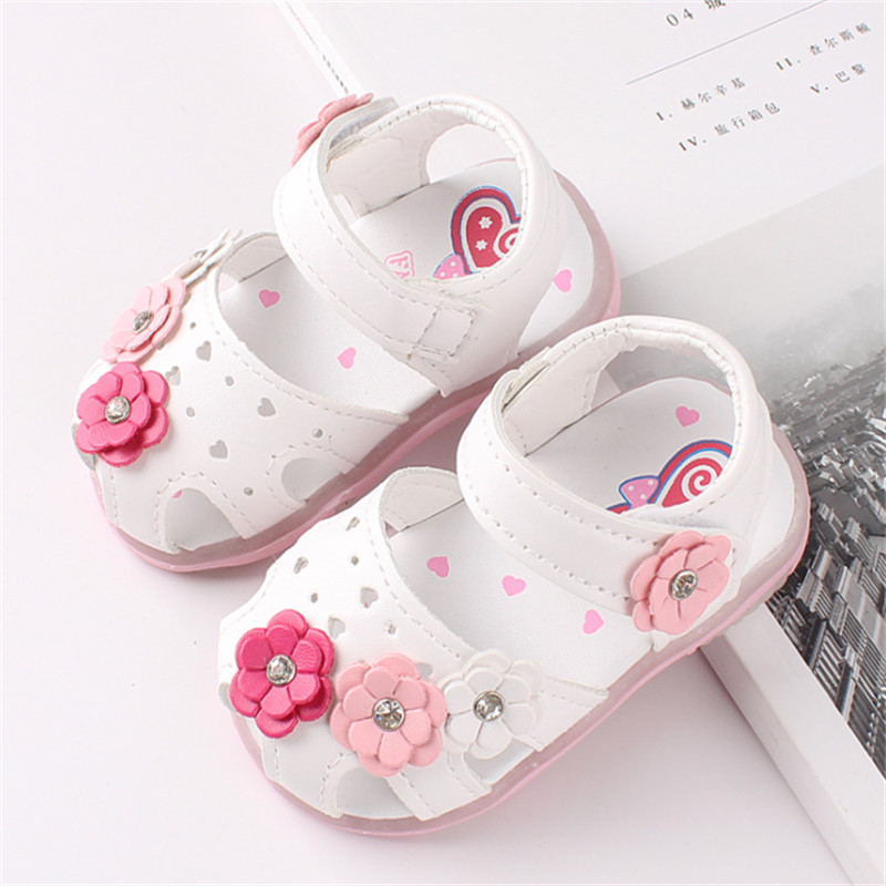 Baby Girls Shoes Summer Sandals Toddler Kids Shoes With Light Up For Girls Flower Princess Child Shoes Lighting Size 15-25
