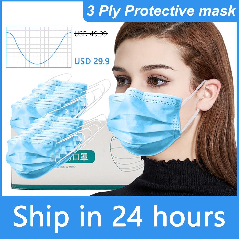 3 Ply Disposable Face Masks Earloop Face Mouth Masks Facial Mask Cover Anti Dust Respirator