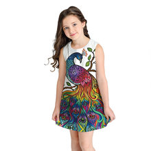 Teen Girl 3D Cartoon Peacock Printing Dresses Ployester Color Printed Short Dress Sleeveless Kid Dresses Robe Fille Vestido(China)