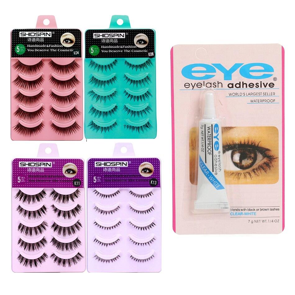 Multiple Styles 5 Pairs Handmade Soft False Eyelashes With False Eyelash Clear Glue Eye Makeup Extension Tools Eyelash Beauty
