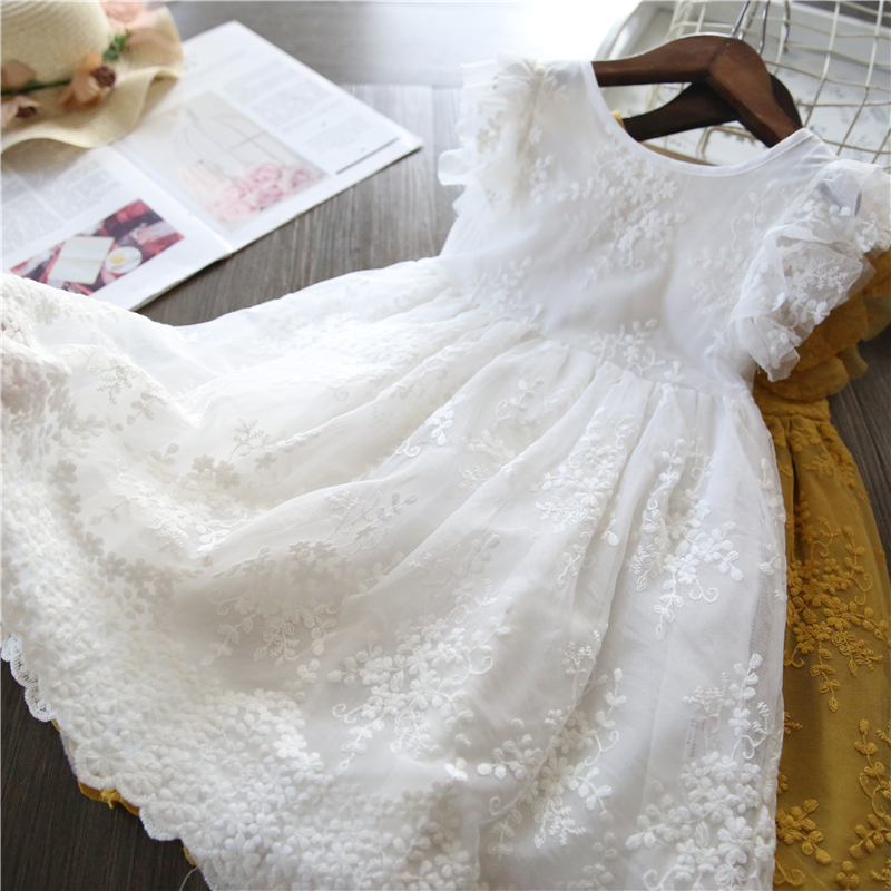 2021 Girls Summer Dress Kids Casual Wear White Wedding Party Dress Teenager Girl Cothing Lace Princess Dress Baby Girl Clothes 1