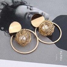 earrings rose gold  pearl earrings  christmas earrings Vintage geometric weaving ball pearl earrings  jade E6106E6105 E6110 fuzzy ball faux pearl chain earrings