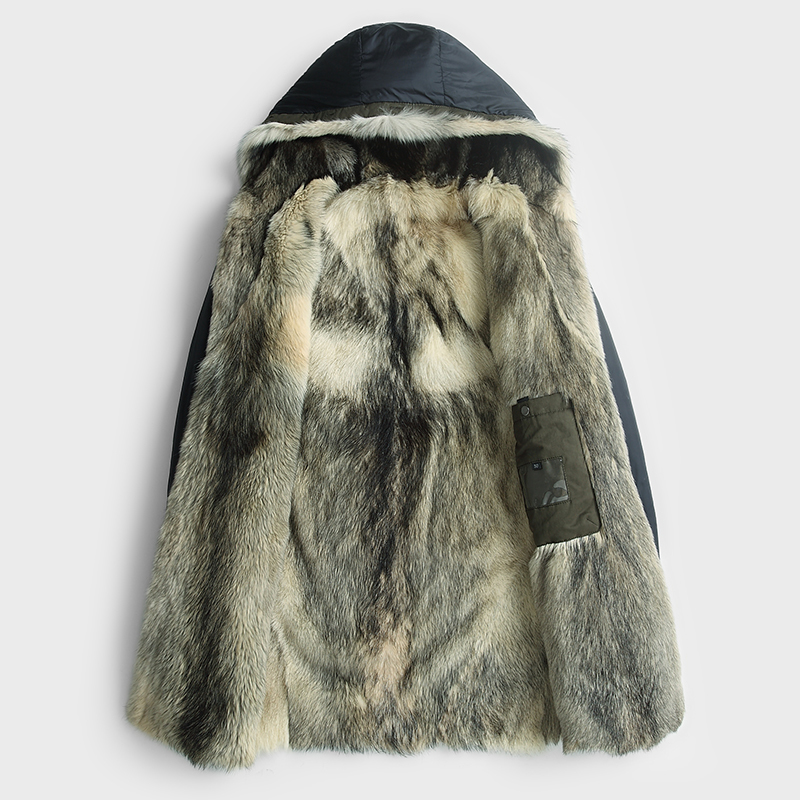 Winter Jacket Men Natural Wolf Fur Coats Hooded Parka Men Plus Size Coat Mens Real Pure Natural Fur Jacket ALM15002MY741