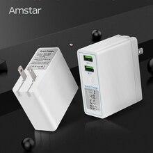 Amstar شحن سريع 3.0 المزدوج USB شاحن 36 واط Led عرض QC3.0 السفر الجدار شاحن آيفون سامسونج هواوي شاومي تهمة سريع