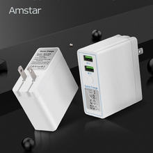 Amstar Quick Charge 3,0 Dual USB Ladegerät 36W Led Display QC 3,0 Reise Wand Ladegerät für iPhone Samsung Huawei xiaomi Schnelle Ladung