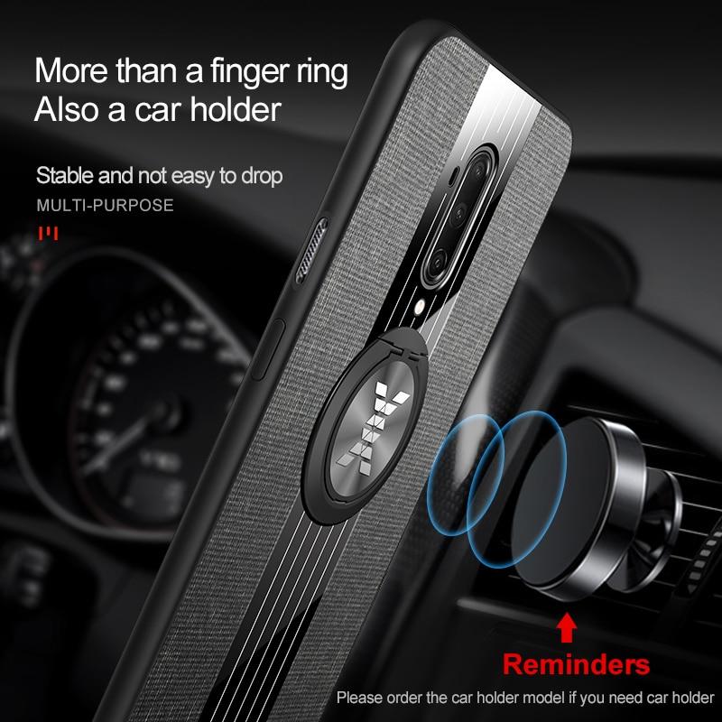 Fodral för Oneplus 7T Pro Cover bil Magnetisk ringhållare Läder - Reservdelar och tillbehör för mobiltelefoner - Foto 3
