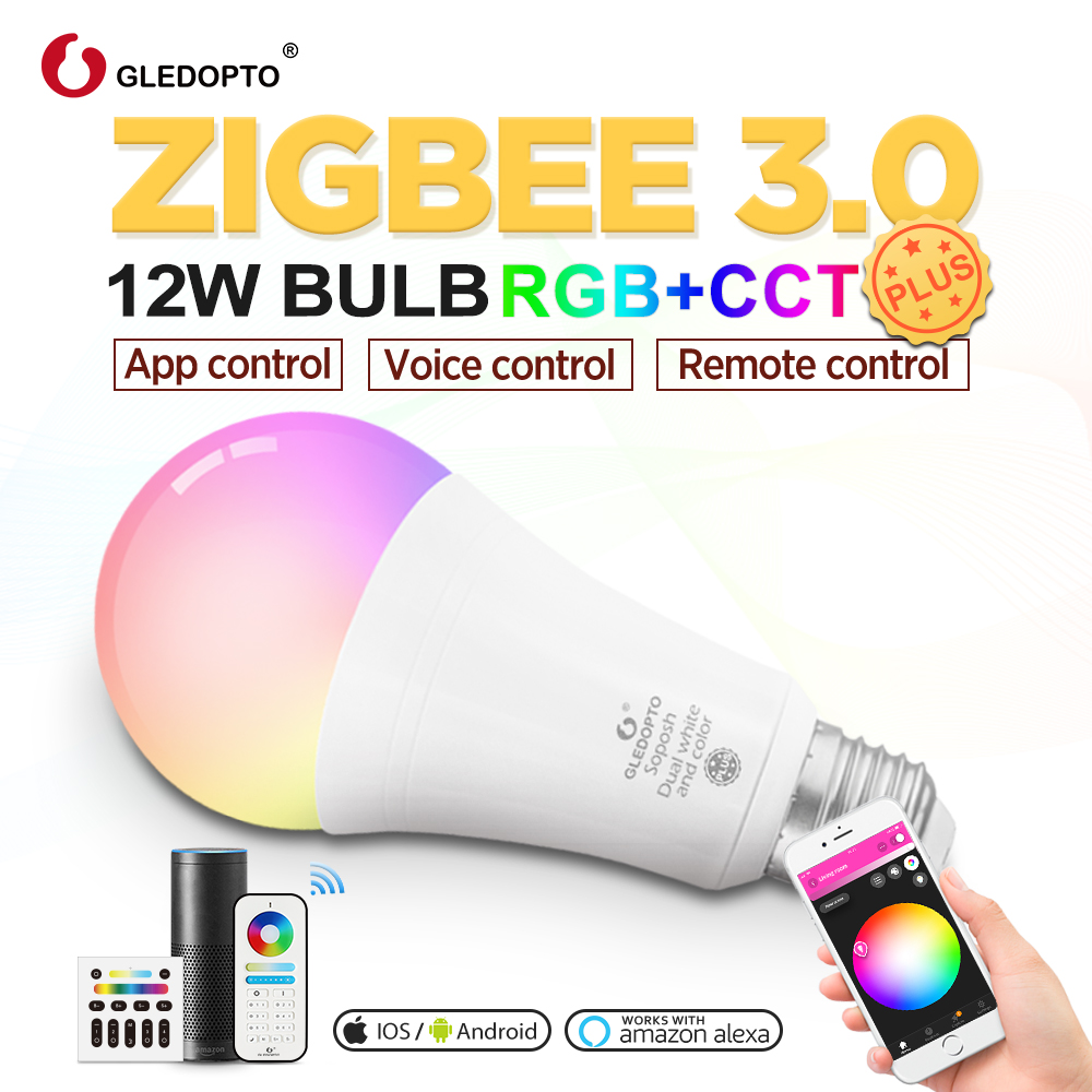 Gledopto RGBCCT  E27 12W LED Smart Color Bulb 2-Pack,Zigbee Compatible 3.0 Gateway ,voice Control With Alexa, RF Remote Control