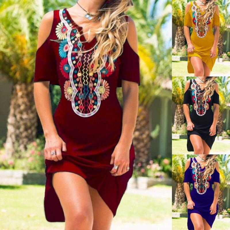 Cold Shoulder V Neck Tribal Dresses Women Fashion Casual Off Shoulder O-Neck Short Sleeve Dresses Plus Size Bohemian skirt
