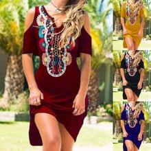 Frío hombro cuello en V vestidos tribales mujer moda Casual hombro o-Cuello de manga corta vestidos de talla grande falda Bohemia